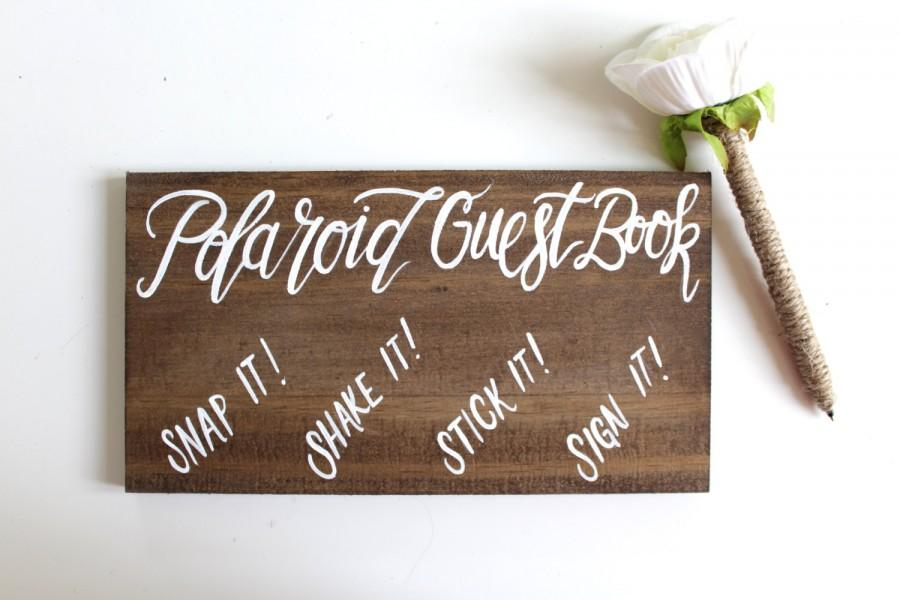 Hochzeit - Polaroid Guest Book Wedding Sign, Rustic Wooden Wedding Signs, Alternative Guest Books, The Paper Walrus