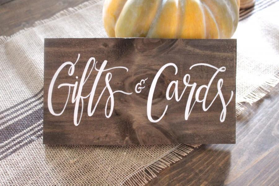 Gifts cards sign cards sign rustic wooden wedding sign for Table 6 gift card