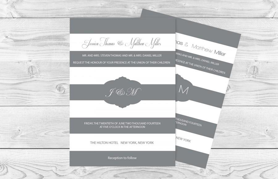 Grey & White Striped And Frame Printable Wedding Invitation Editable ...