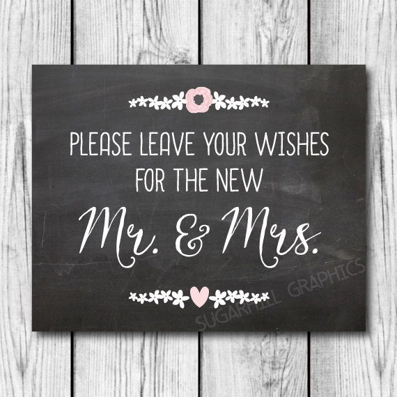 Mariage - Chalkboard Wedding Sign, Printable Wedding Sign, Wedding Leave Your Wishes Sign, Wedding Decor, Instant Download, Wedding Guest Book Sign
