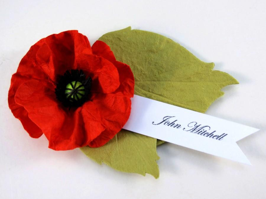 Mariage - 6 Red Poppy - Paper Flower Place Cards - Escort Cards - Wedding decor