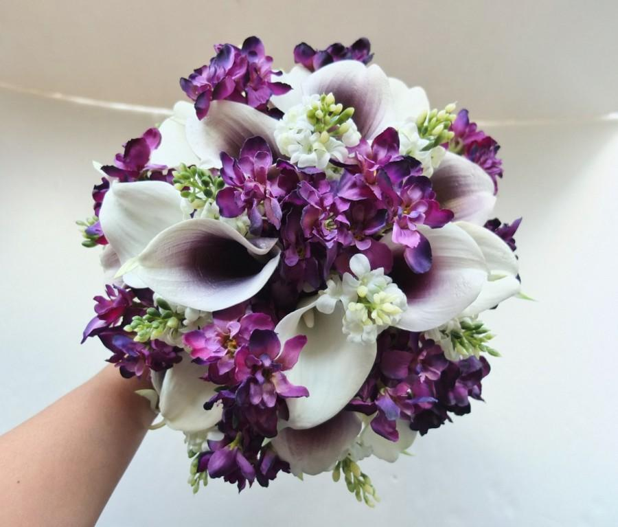 زفاف - White & Plum/Purple Calla Lily bouquet, Bridal Bouquet, wedding bouquet, bridesmaid bouquet