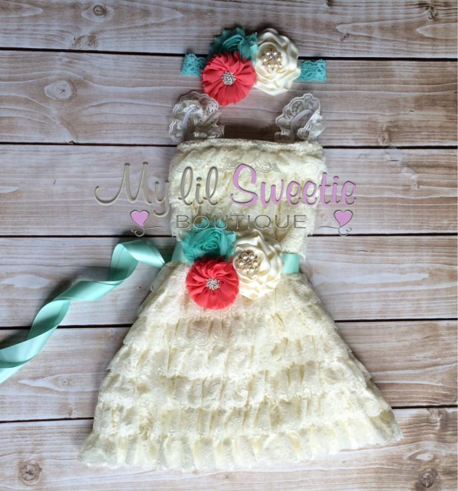 Mariage - Ivory, tropical coral, mint aqua 3 piece set, dress, sash, headband, baby girl outfit, special occasion dress, toddler dress, girls dress,