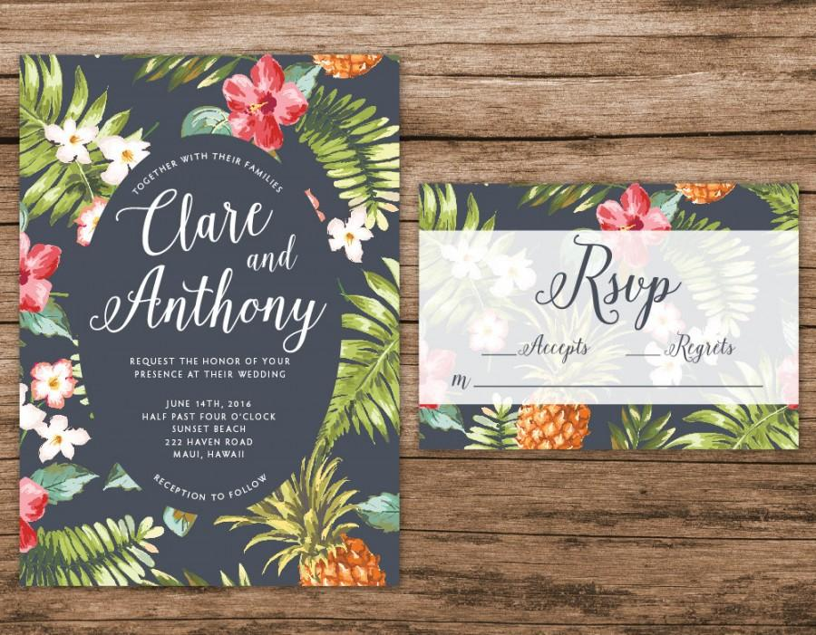 hawaiian wedding invitation, tropical wedding invitation, palm, Wedding invitations