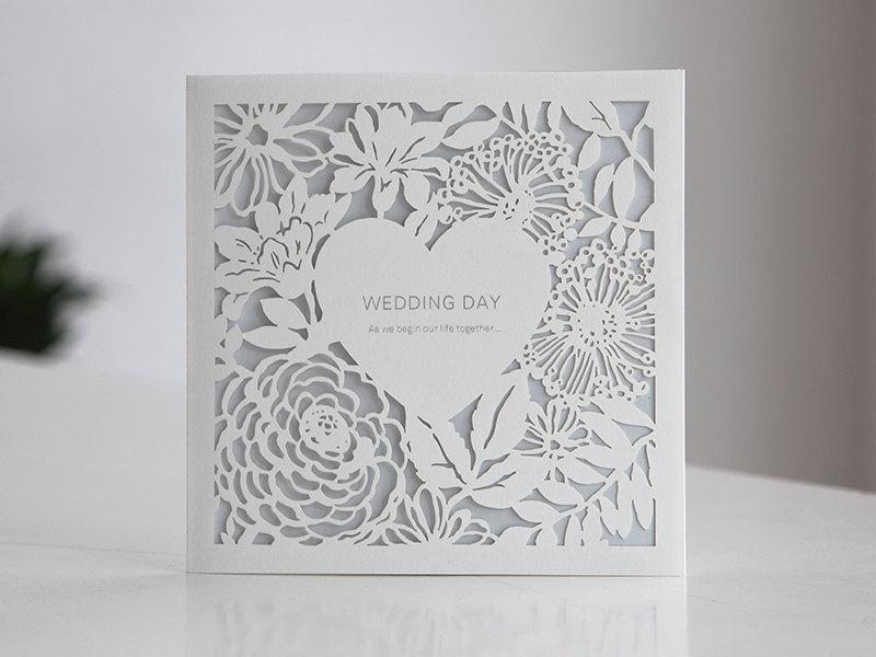 Hochzeit - Custom Lace Laser Cut Wedding Invitations Free Proof - BH4520  - - - - - RSVP with Envelopes Seals - - - - - Free Shipping Promotion