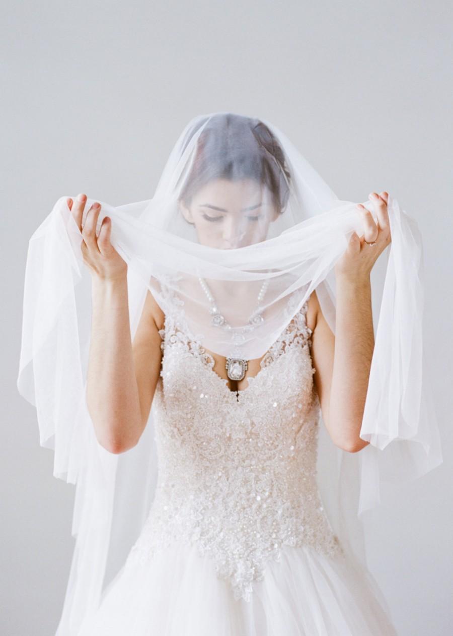 Mariage - Cathedral Bridal Veil, MAUDE Net Veil, Drop Veil, Wedding Veil, Long Veil, Cathedral Veil, Tulle Veil, Silk Tulle Veil, English Net Veil