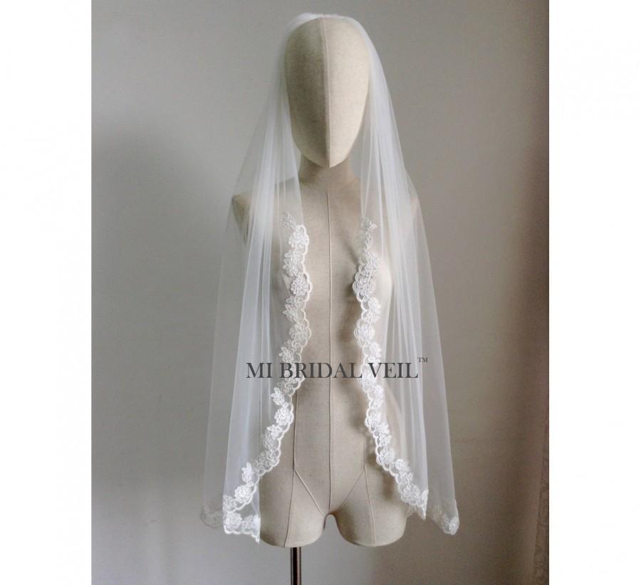 زفاف - Custom Bridal Veil, Rose Lace Bridal Veil, Lace starts from Upper Arm, Single Tier Lace Veil, Fingertip, Waltz, Floor, Chapel, Cathedral