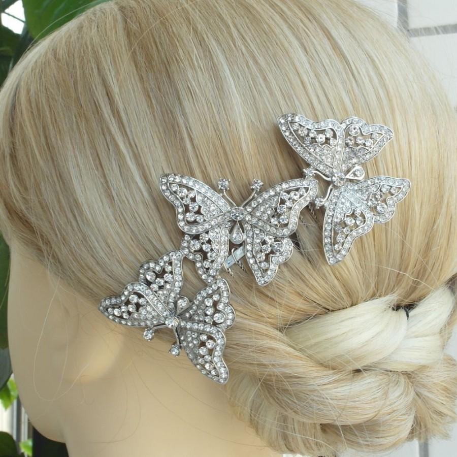 Wedding - VanessaJewel Bridal Hair Accessories 4.13 Inch Silver-tone Clear Rhinestone Crystal Butterfly Bridal Hair Comb Wedding Headpiece HS1469D1