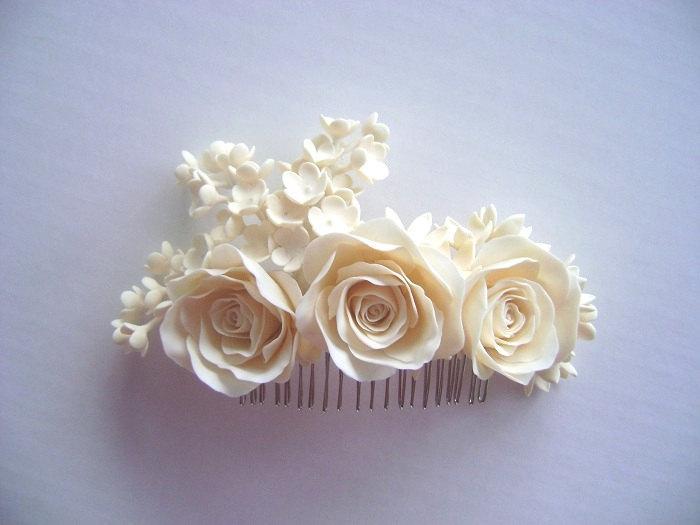 Mariage - Bridal Ivory Hair Piece - Wedding Hair Piece -Made to Order