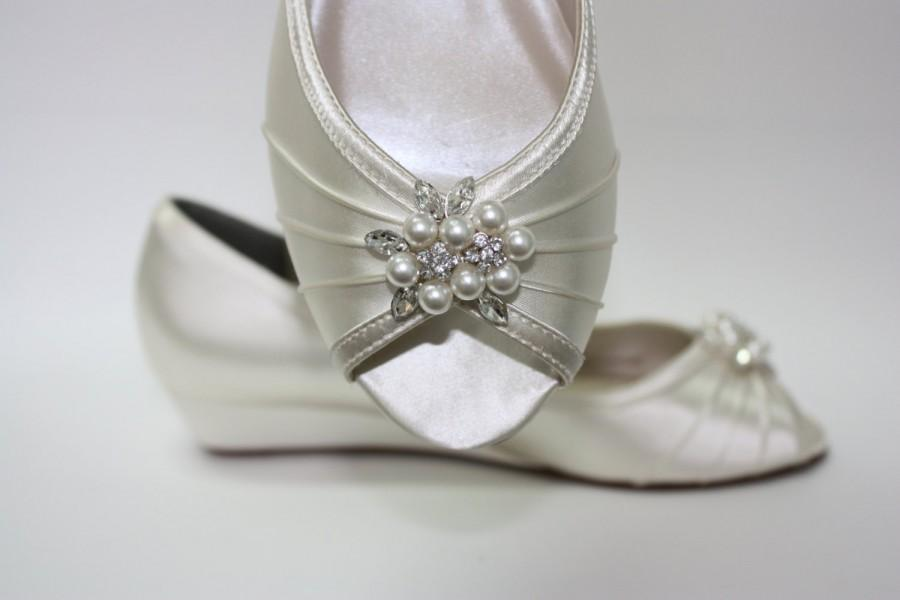Wedge Wedding Shoes - Peep Toe Ivory Shoes - 1 Inch Wedge Heel ...