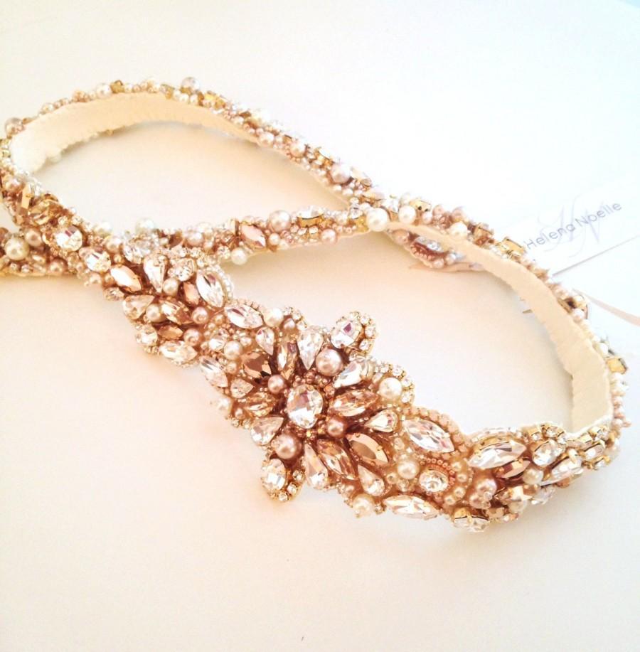 Свадьба - Original Rose Gold Crystal Bridal Belt- Blush Bridal Sash- Rhinestone, Sequin and Pearl Bridal Sash