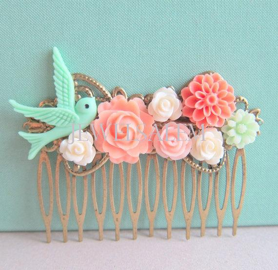 Mariage - Wedding Hair Comb in Coral Mint Green FREE SHIPPING Bridesmaid Gift Peach Pink Mint Bridal Headpiece Hair Pin of Flowers and Bird