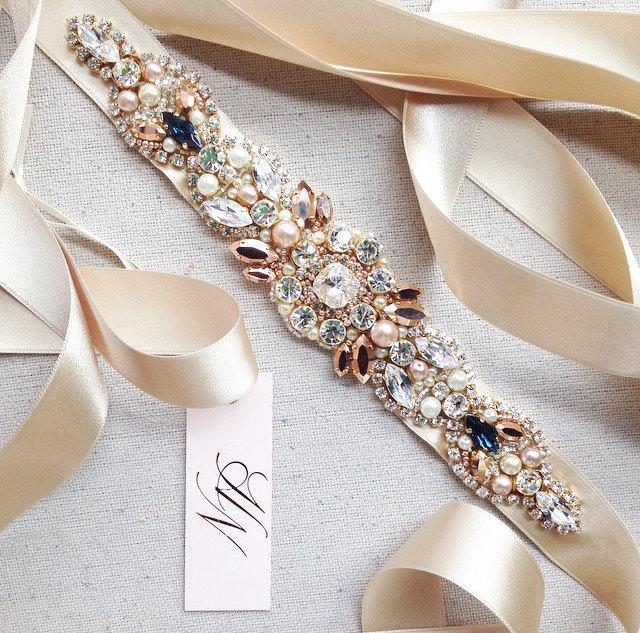 Свадьба - Rose Gold Crystal Bridal Belt- SWAROVSKI- Rhinestone, Sequin and Pearl Bridal Sash