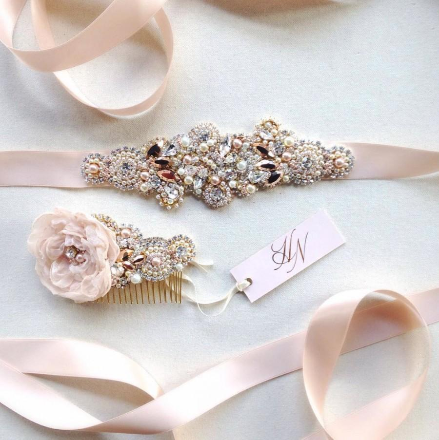 Rose Gold Crystal Bridal Belt- SWAROVSKI- Rhinestone, Sequin And ...