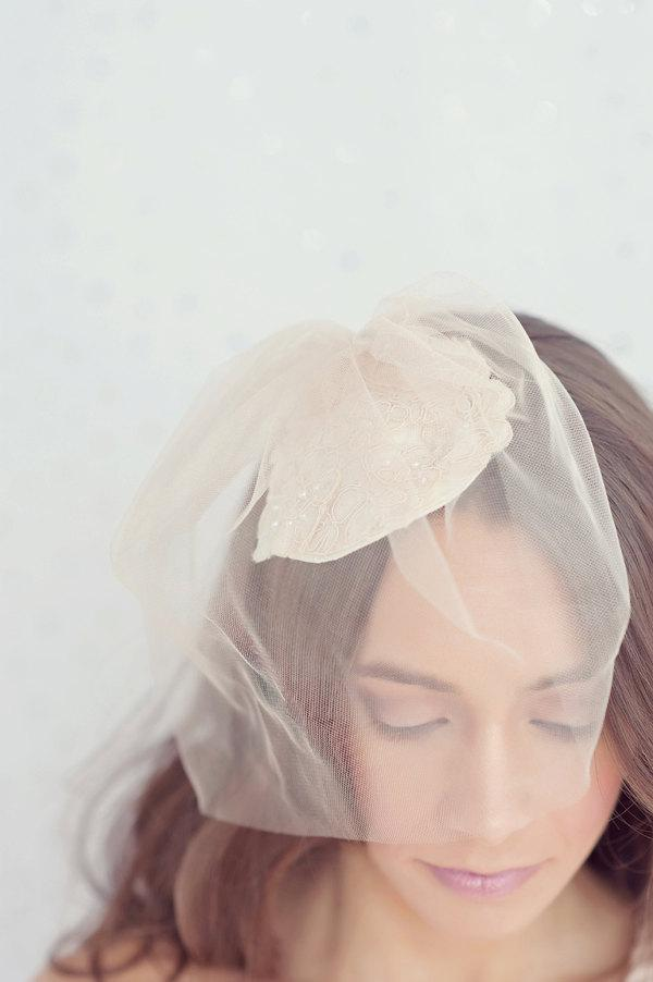 Mariage - Ivory alencon lace bridal hat with golden shimmering champagne blusher veil