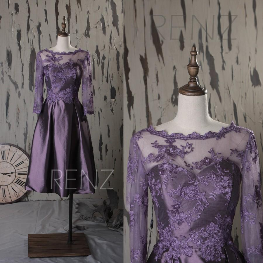 Mariage - 2015 Mesh Illusion Bridesmaid dress Purple, A line Wedding dress, Lace neck Prom dress, Formal dress with Long Sleeves knee length (TT099)
