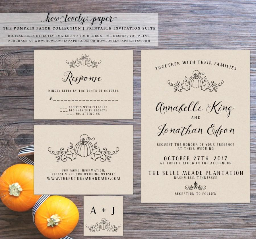 Printable Fall Wedding Invitation Suite The Pumpkin Patch – Printable Fall Wedding Invitations