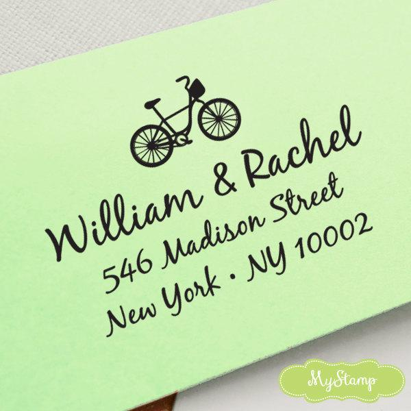Mariage - CUSTOM pre inked ADDRESS STAMP with bicycle, personalized gift, address stamp, custom address stamp, custom library stamper - Bicycle c6-8