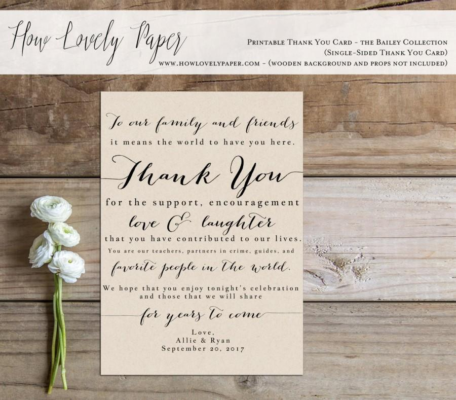 Hochzeit - Printable Wedding Thank You Card Sign - the Bailey Collection - Wedding Reception Thank You