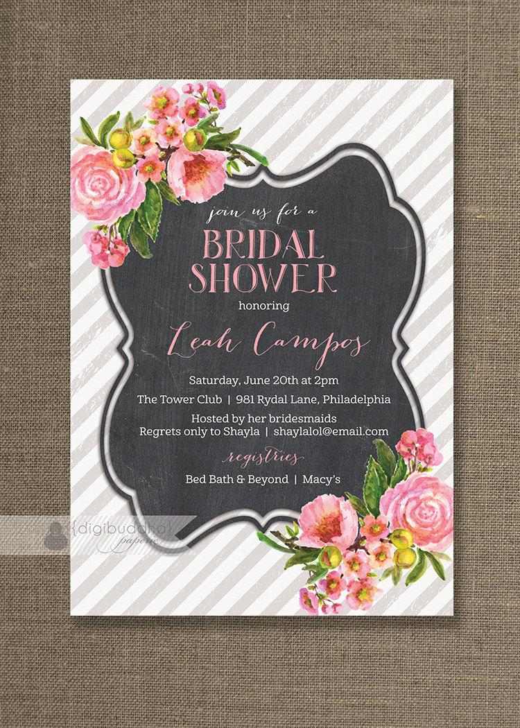 Wedding - Pink Floral Bridal Shower Invitation Pink Roses Chalkboard Gray & White Striped Pastel Chalk FREE PRIORITY SHIPPING or DiY Printable - Leah