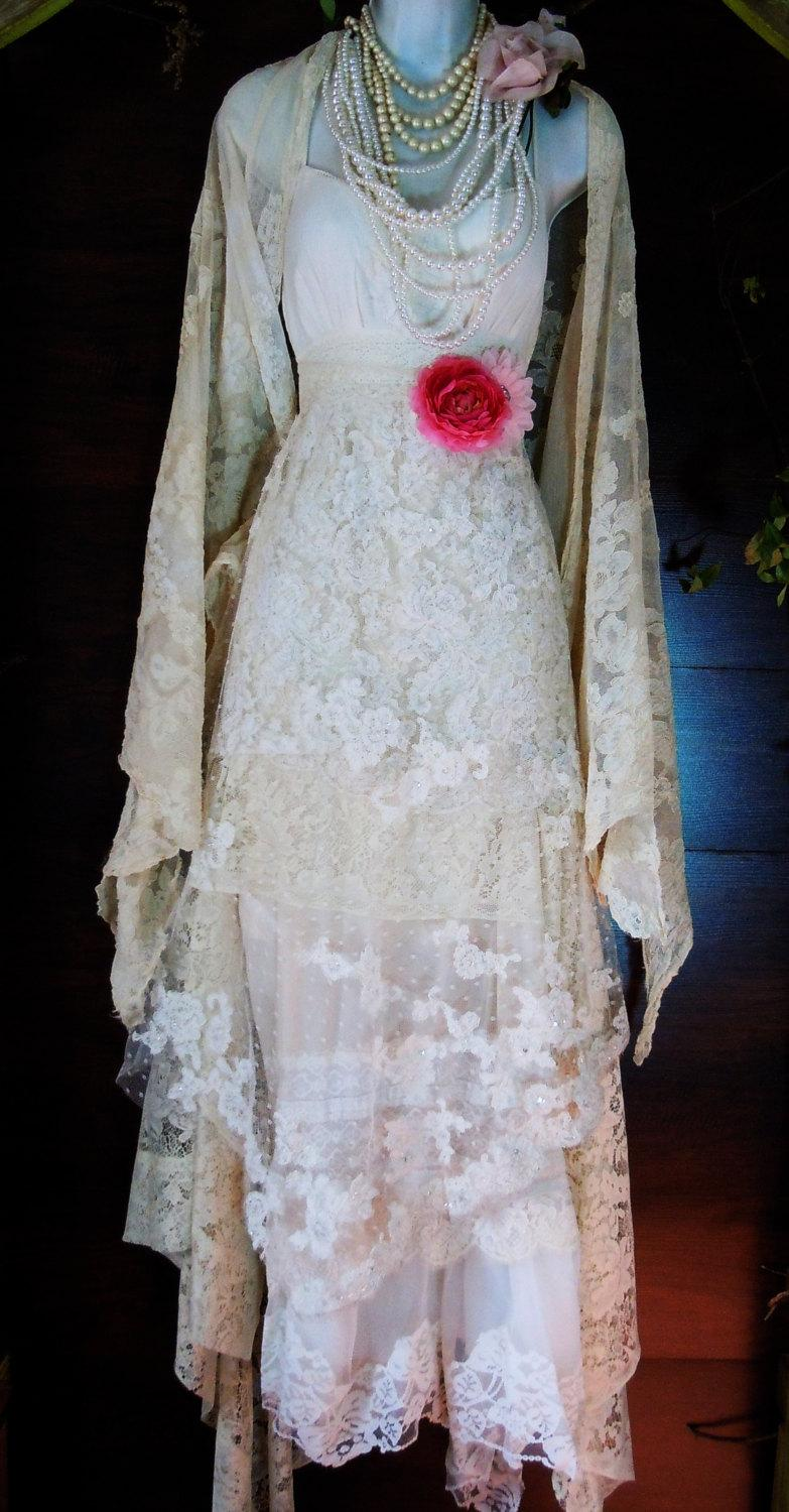 Mariage - Beaded lace dress wedding ivory cream vintage flapper  boho  xs by vintage opulence on Etsy