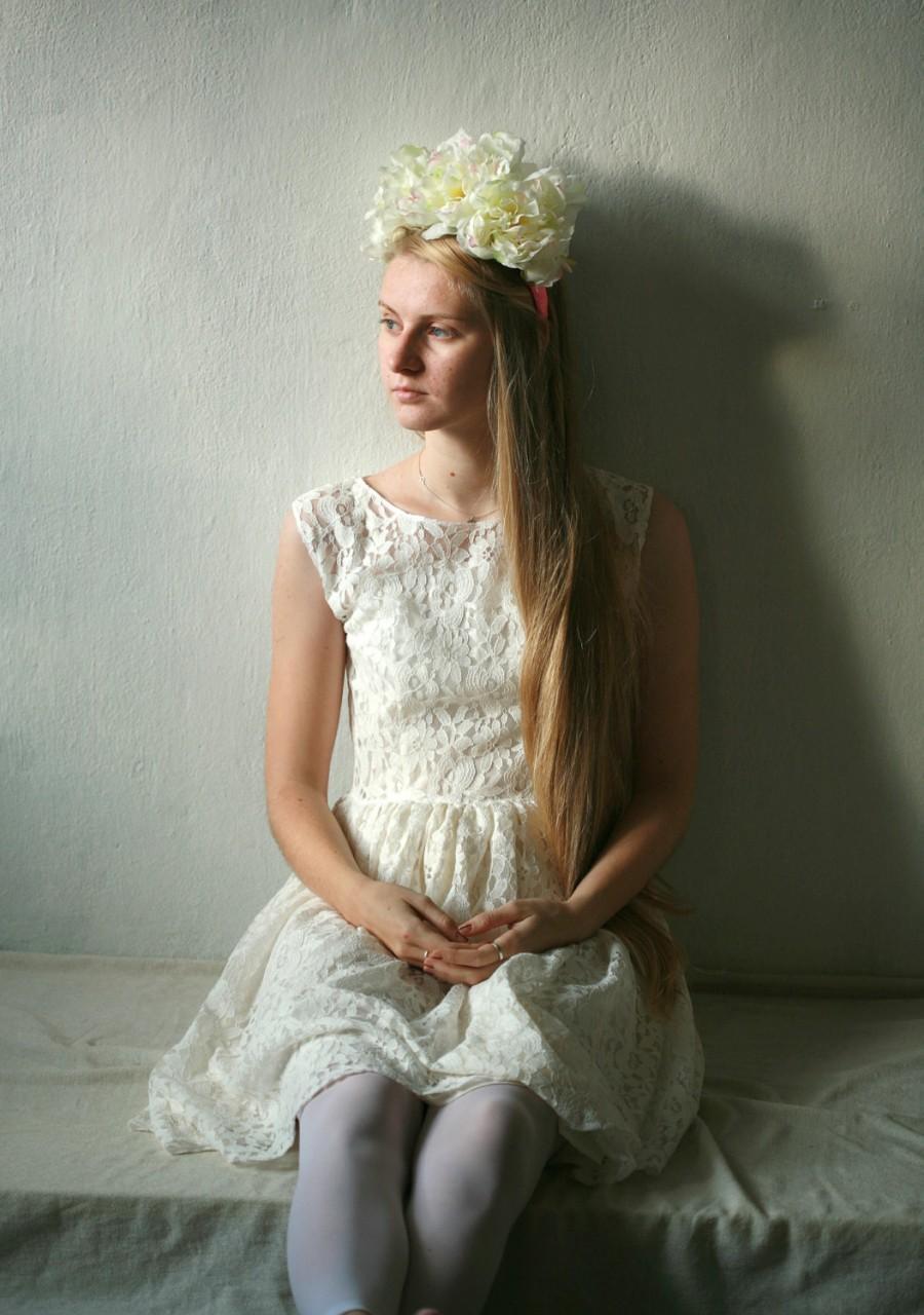 Mariage - White lace short, knee length wedding dress