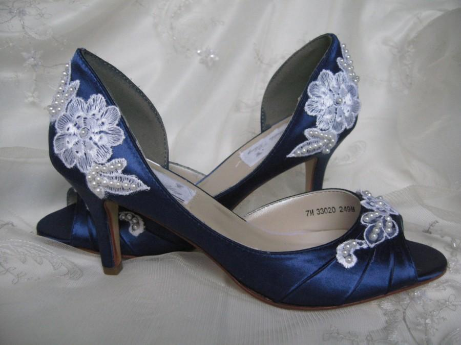 Düğün - Navy Wedding Shoes Lace Shoes Lace and Pearls Navy Blue Bridal Shoes - Over 100 Colors And Heel Heights To Pick From