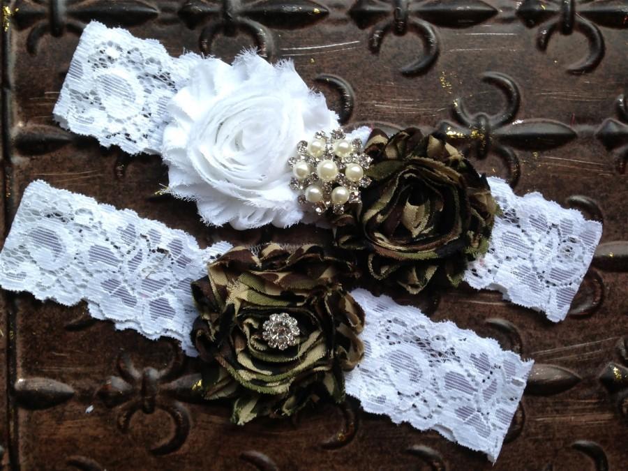 Hochzeit - Camo Wedding Garter Set, Camo Wedding Garter, Camo Bridal Garter, Wedding Garter Set, White Lace Garter, Toss Garter, Camo Garter