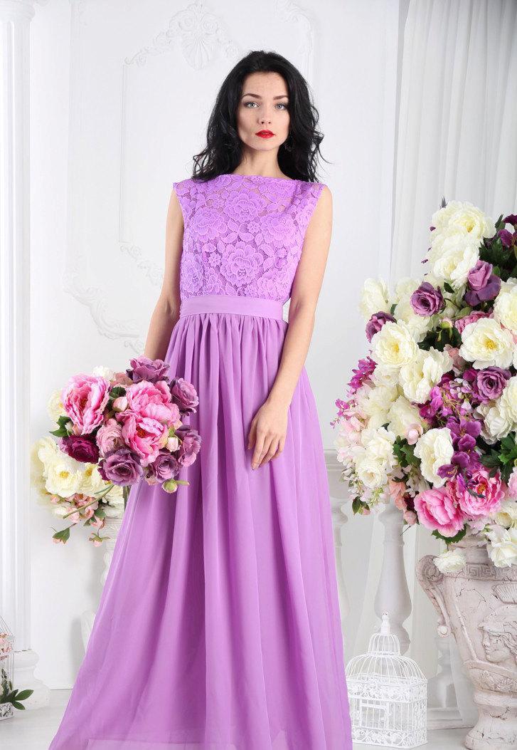 Purple Bridesmaid Dress Lace Long Lavender Women Lilac Prom