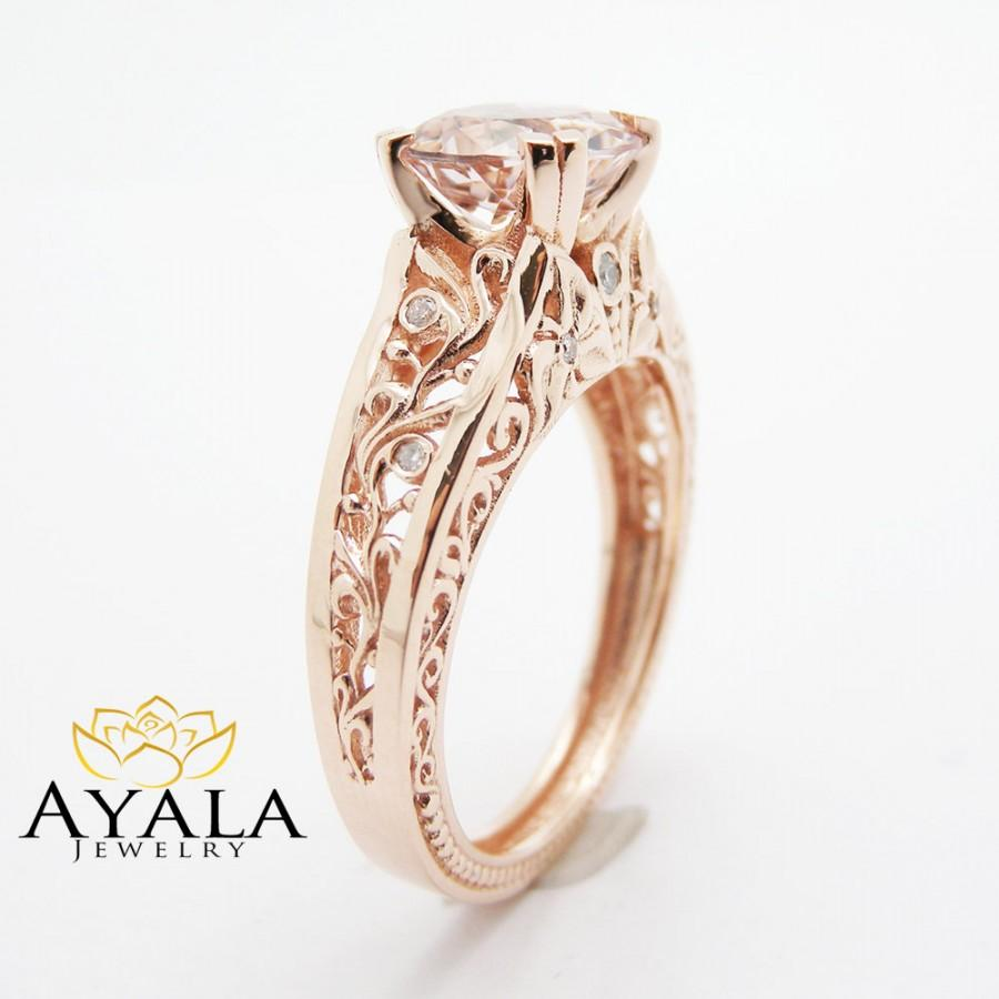 Vintage Engagement Ring 14K Rose Gold Morganite Engagement Ring