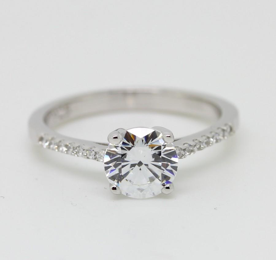 Sterling Silver And 1 5ct Natural White Sapphire Solitaire Ring Engagement