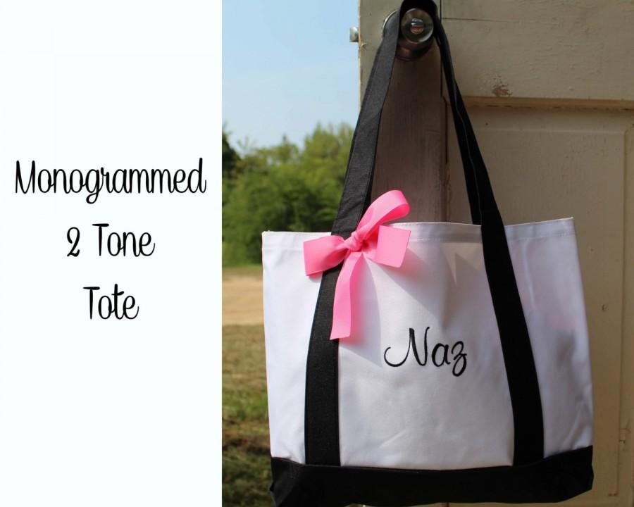 personalized monogrammed tote bag bridesmaid gift 2 color set of 2 team bride bridesmaids. Black Bedroom Furniture Sets. Home Design Ideas