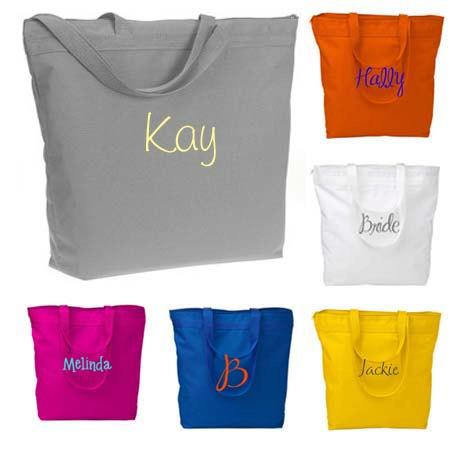 Hochzeit - Personalized Zippered Tote Bag Bridesmaid Gift Set of 10 Monogrammed Tote, Bridesmaid Tote, Personalized Tote