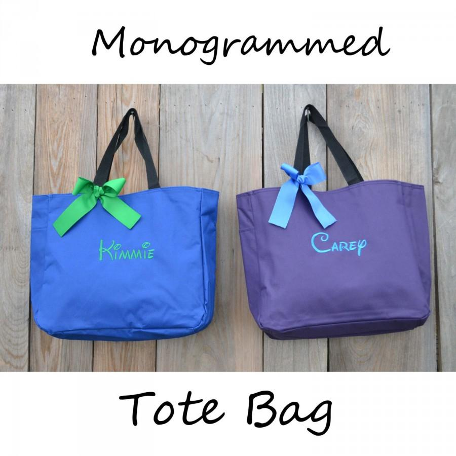 Hochzeit - 7 Personalized Bridesmaid Gift Tote Bag, Embroidered Tote, Monogrammed Tote, Bridal Party Gift