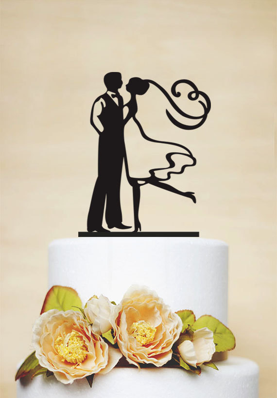 Mariage - Wedding Cake Topper,Couple Silhouette Cake Topper,Custom Cake Topper,Personalized Cake Topper,Bride and Groom - P055