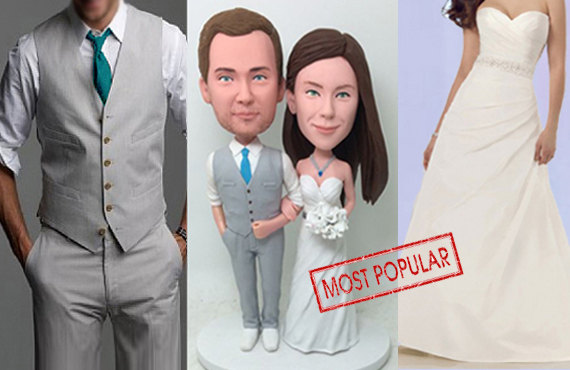 زفاف - wedding cake topper Wedding topper Custom cake topper Bobblehead Custom wedding cake topper the most popular item Cake Topper - CT G1205