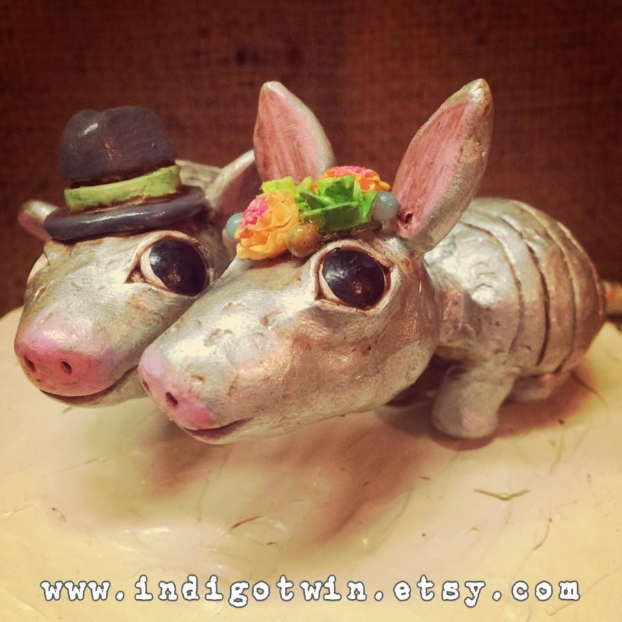 Mariage - Armadillos in Love with your choice of hat and flower wreath Folk Art wedding cake topper Made to Order