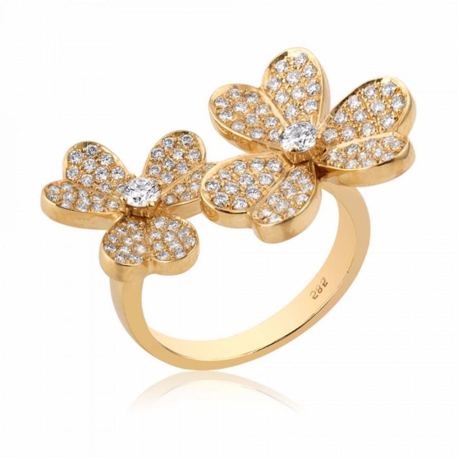 Wedding - Micro Pave Ring - F-G Vs Natural Round Cut Diamond 0.85 Total Carat 14K Yellow Gold Ring,  Ring Size 7 Flower Ring