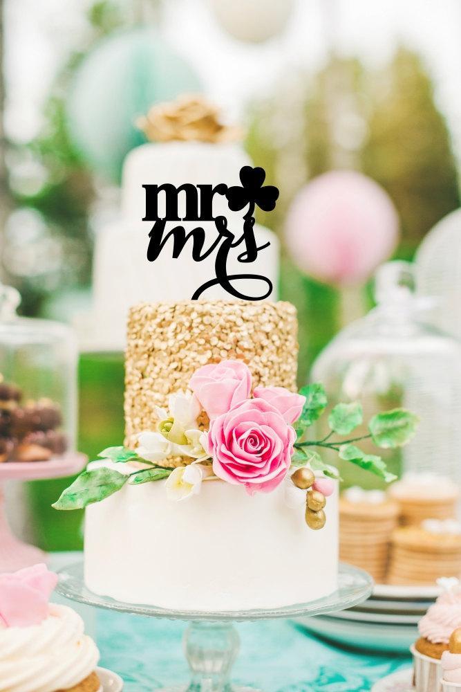 Mariage - Shamrock Wedding Cake Topper - Mr & Mrs Cake Topper - St. Patrick's Day Cake Topper