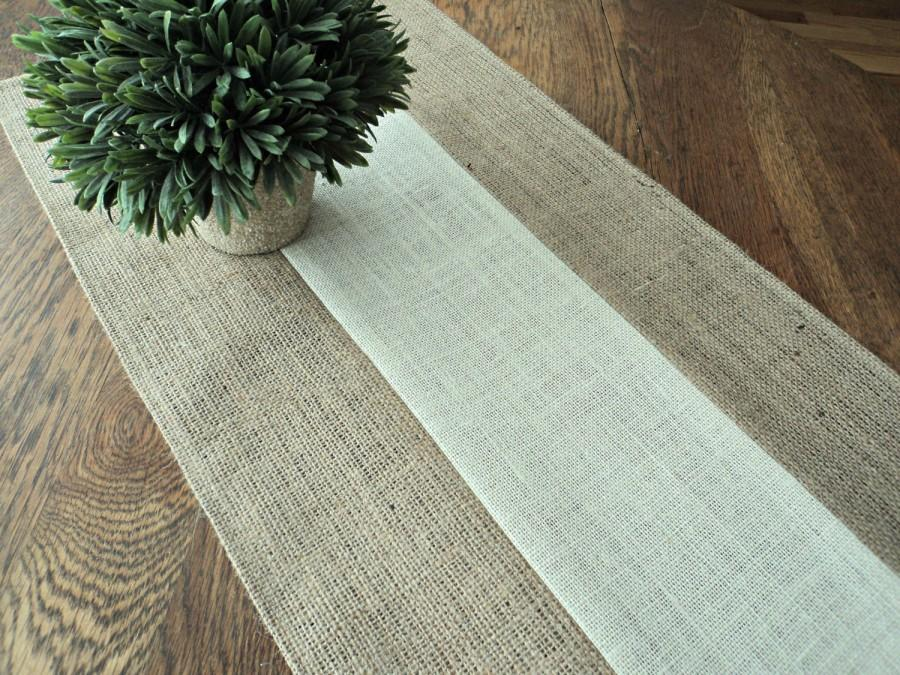 Natural And Ivory Burlap Table Runner Modern Rustic Home Decor Custom Sizes Available Elegant Style Decorating