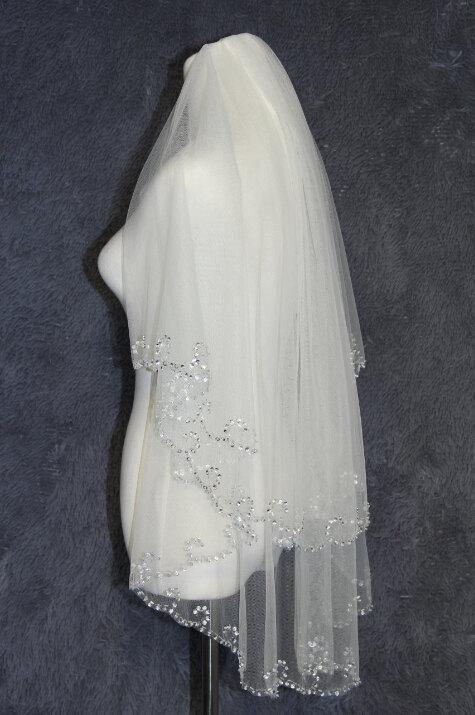 Свадьба - 2T white ivory hand-sequined wedding bridal veil flounced beautiful bride accessories wedding supplies