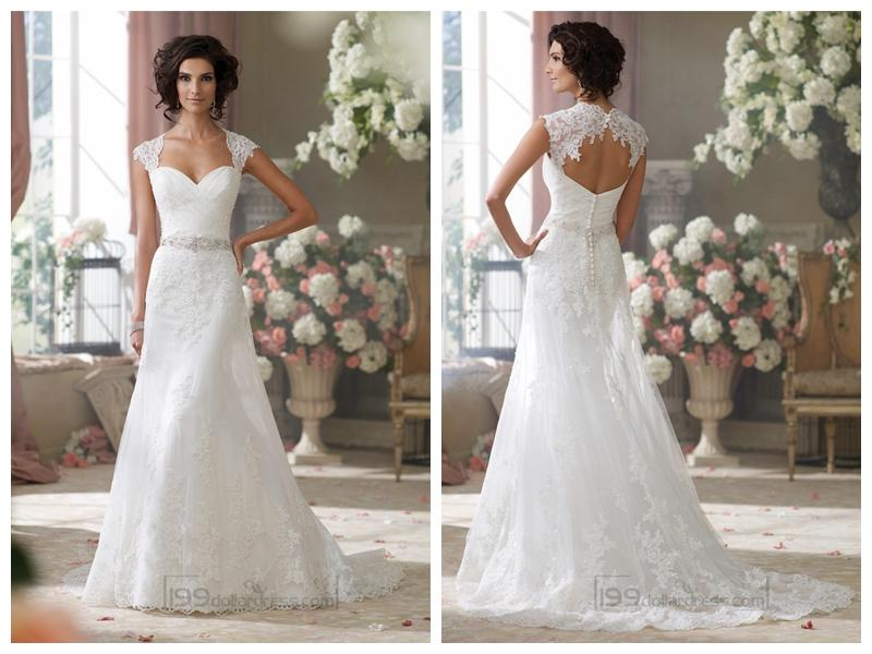 Cap sleeves slim a line sweetheart lace appliques wedding dresses