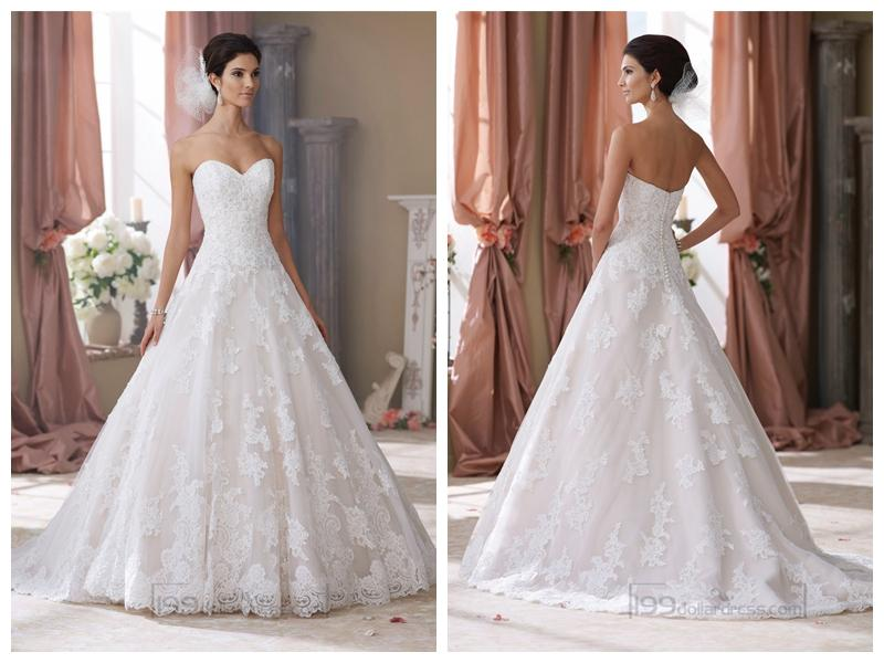 Strapless Sweetheart Lace Appliques Ball Gown Wedding Dresses ...