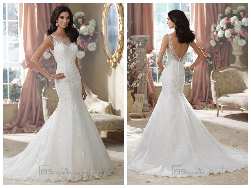 Свадьба - Embroidered V-back Mermaid Wedding Dresses Features Illusion Bateau Neckline