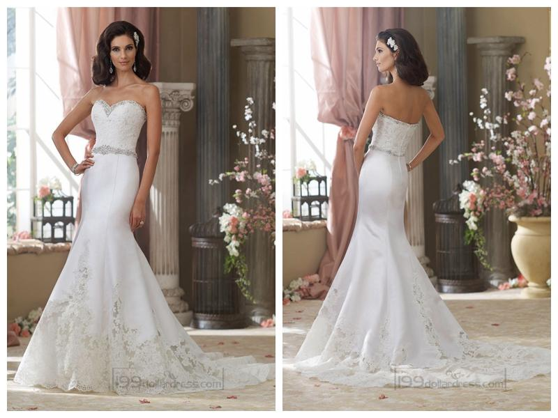 Beaded Sweetheart Lace Appliques Mermaid Wedding Dresses With Jeweled Band Waist 2452227