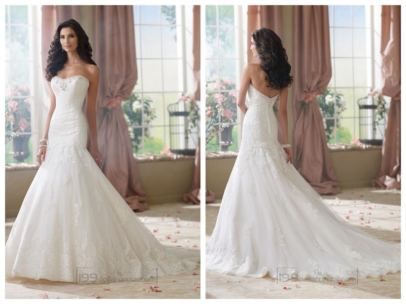 Strapless Mermaid Wedding Gown: Strapless A-line Softly Curved Neckline Lace Mermaid