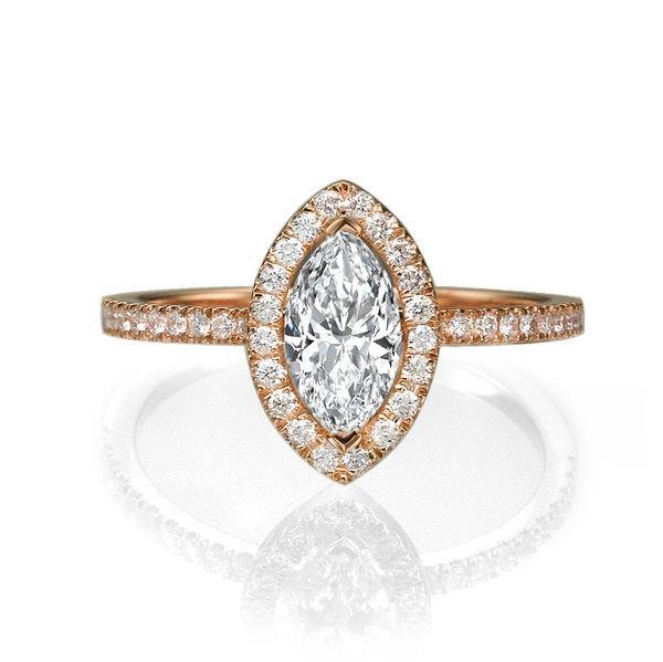 Marquise Diamond Ring 14K Rose Gold Engagement Ring 1 TCW Halo Diamond Ring
