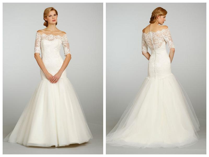 Strapless a line wedding dress with three quarter sleeve for Three quarter wedding dresses