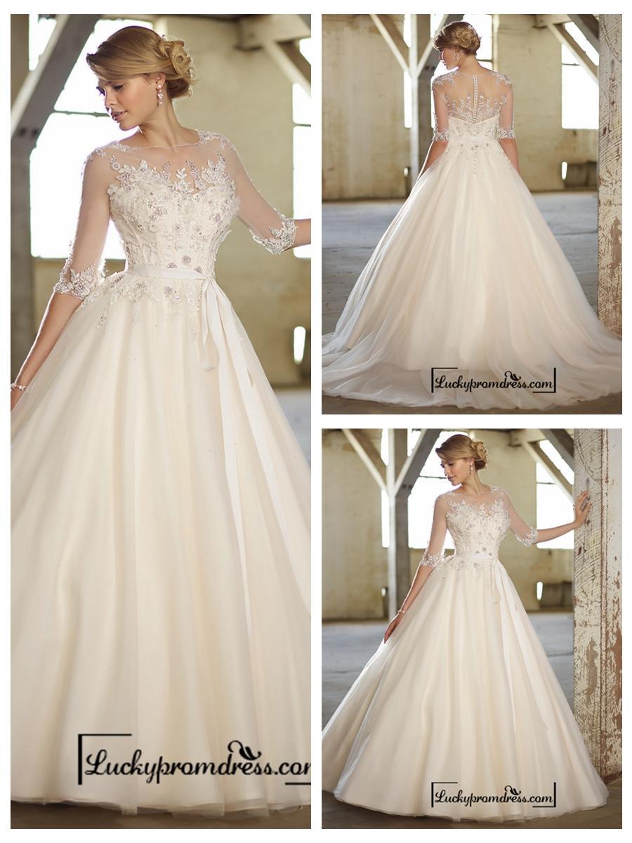 Illusion Boat Neckline Three-Quarter Sleeves Embellished Wedding ...