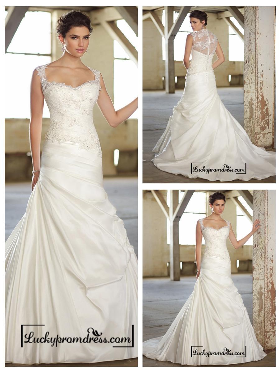 زفاف - Cap Sleeves Lace Over Bodice A-line Wedding Dresses with Illusion Back